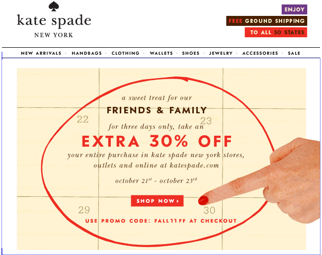 Screen Shot 2011 10 22 at 8.13.11 AM friends & family: kate spade, cole haan, neiman marcus