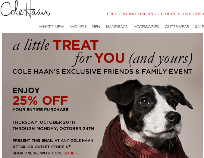 Screen Shot 2011 10 22 at 8.15.30 AM friends & family: kate spade, cole haan, neiman marcus