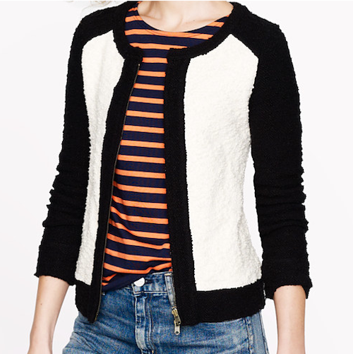 J.Crew colorblock boucle jacket