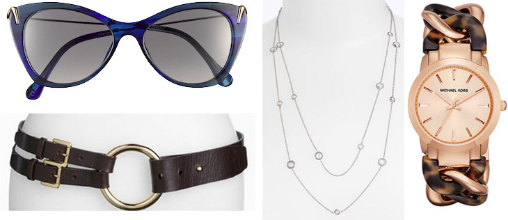Nordstrom Anniversary Sale accessories, nordstrom anniversary sale jewelry, elizabeth james fillmore sunglasses, sunnies, michael kors lady nini watch, nadri station necklace, michael kors equestrian belt