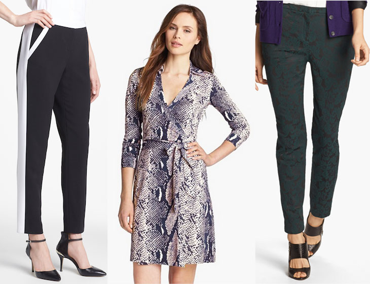 Nordstrom Anniversary Sale clothes, halogen quinn pants, color block pants, dvf jeanne wrap dress, jacquard pants, holiday pants