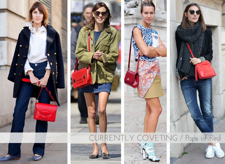 Red handbag, street style, red bag, fall bags, alexa chung red handbag, alexa chung style