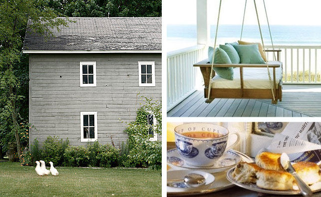 Summer vacation, summer trip, vacation photos, porch swing, farmhouse, tea and scones