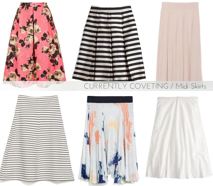 midi skirts for spring, midi skirts, spring skirts, knee length skirts