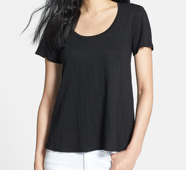 eileen fisher u neck linen tee