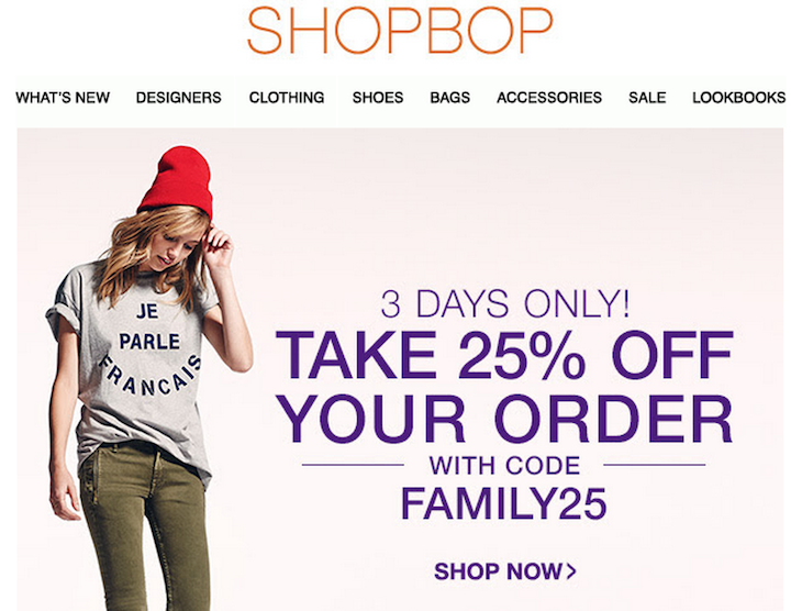 shopbop friends and family, shopbop coupon, shopbop sale